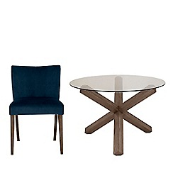 Debenhams - Dark oak and glass 'Turin' round table and 4 blue low back chairs