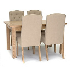 Willis & Gambier - 'Denver' large extending table and 4 stanza beige chairs