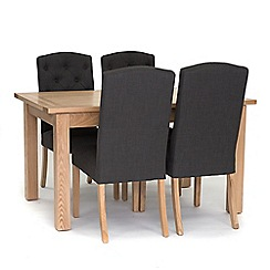 Willis & Gambier - 'Denver' large extending table and 4 stanza grey chairs