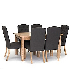 Willis & Gambier - Denver' large extending table and 6 stanza grey chairs