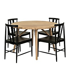Willis & Gambier - Charcoal and oak effect 'Boston' dining table and 4 chairs set