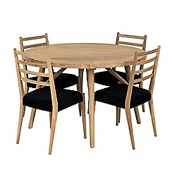 Willis & Gambier - Velvet and oak effect 'Boston' dining table and 4 chairs set