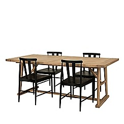 Willis & Gambier - Large charcoal and oak effect 'Boston' dining table and 4 chairs set