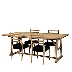 Willis & Gambier - Large velvet and oak effect 'Boston' dining table and 4 chairs set