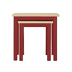 Corndell - Dark red 'Marlow' nest of 2 tables