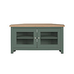 Corndell - Dark green 'Marlow' corner TV unit