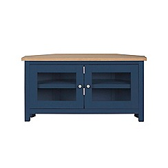 Corndell - Dark blue 'Marlow' corner TV unit