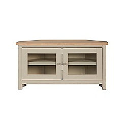 Corndell - Cream painted oak 'Marlow' corner TV unit