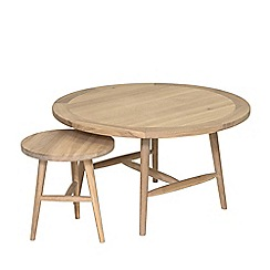 Willis & Gambier - Pair of oak effect 'Boston' round side and coffee tables
