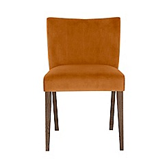 Debenhams - Pair of orange 'Turin' upholstered low back dining chairs with Dark oak legs