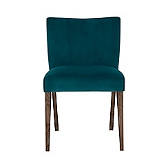 Debenhams - Pair of teal 'Turin' upholstered low back dining chairs with Dark oak legs