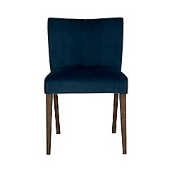 Debenhams - Pair of blue 'Turin' upholstered low back dining chairs with dark oak legs