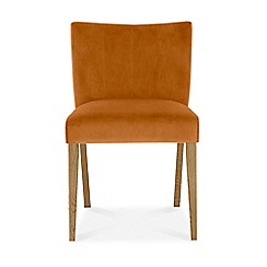 Debenhams - Pair of orange 'Turin' upholstered low back dining chairs with oak legs
