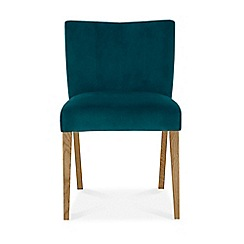 Debenhams - Pair of teal 'Turin' upholstered low back dining chairs with oak legs