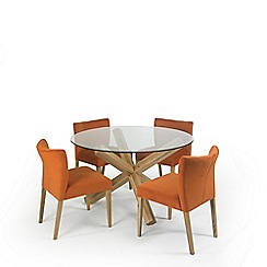 Debenhams - Oak and glass 'Turin' round table and 4 orange low back chairs