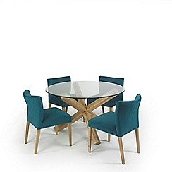 Debenhams - Oak and glass 'Turin' round table and 4 teal low back chairs