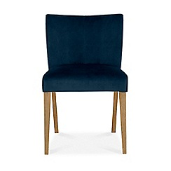 Debenhams - Oak and glass 'Turin' round table and 4 blue low back chairs