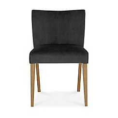 Debenhams - Oak and glass 'Turin' round table and 4 grey low back chairs