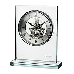 London Clock - Glass skeleton mantel clock