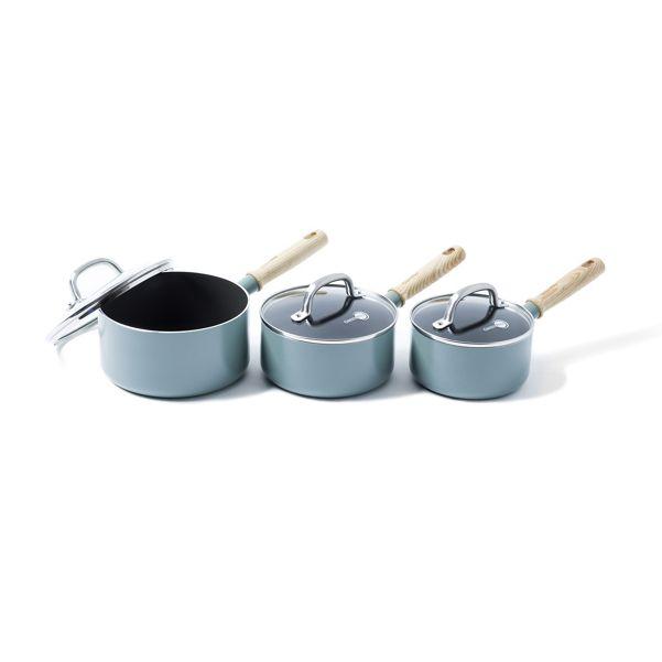 Green Pan - Green non-stick aluminium 'Mayflower' 3 piece induction saucepan set