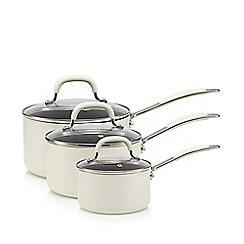 Home Collection - Cream three piece non-stick aluminium saucepan set