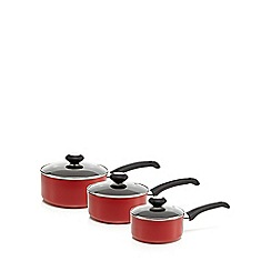 Home Collection Basics - Set of three red non stick saucepan and lid set