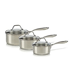 Home Collection - Set of three silver stainless steel saucepans with lids