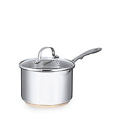 Home Collection - Stainless steel 16cm saucepan with lid and copper base