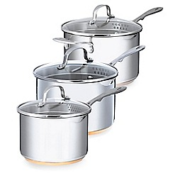 Home Collection - Set of three stainless steel 16, 18, 20cm saucepan with lid and copper base