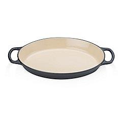 Le Creuset - Satin black cast iron 28cm oval gratin dish