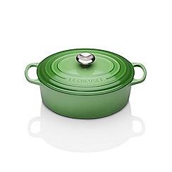 Le Creuset - Green cast iron 'Signature' 27cm oval casserole