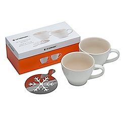 Le Creuset - Set of 2 cotton stoneware grand mugs with snowflake stencil