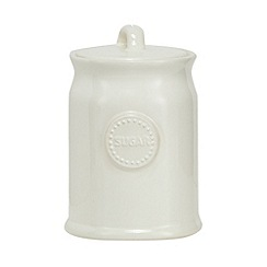 At home with Ashley Thomas - Cream ceramic sugar jar
