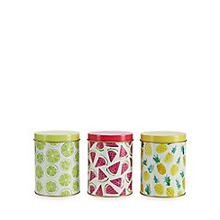 At home with Ashley Thomas - Pack of 3 multicoloured tropical print tins