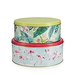 At home with Ashley Thomas - Set of two multi-coloured tropical print tins