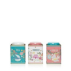 Home Collection - 3 pack multi coloured floral print tea, coffee and sugar tins