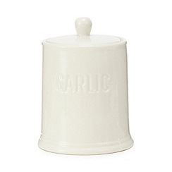 Home Collection - White ceramic garlic jar