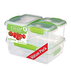 Sistema - Set of 6 Lime Green 'Fresh™' Rectangular Food Containers