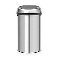 Brabantia - Metallic grey 60L fingerprint proof matte steel touch bin