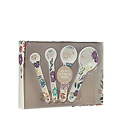 Home Collection - 4 pack white floral print measuring spoons