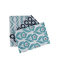 Home Collection Basics - Set of three blue printed tea towels
