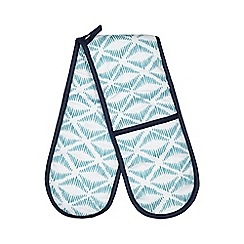 Home Collection Basics - Blue geometric print double oven gloves