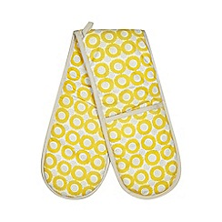 Home Collection Basics - Yellow floral print double oven gloves