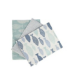 Home Collection - Set of three multi-coloured fish print tea towels