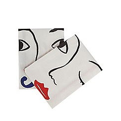 Home Collection - Set of two multi-coloured face print tea towels
