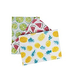 At home with Ashley Thomas - Set of three multi-coloured tropical fruit print tea towels
