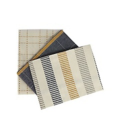 J by Jasper Conran - Set of three multi-coloured checked stripe tea towels