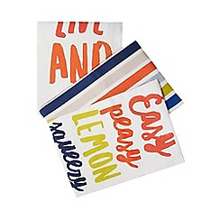 Home Collection - Set of three multi-coloured slogan print tea towels