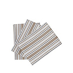 Home Collection - Set of three cream basket weave striped tea towels
