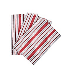 Home Collection - Set of three red and white striped tea towels